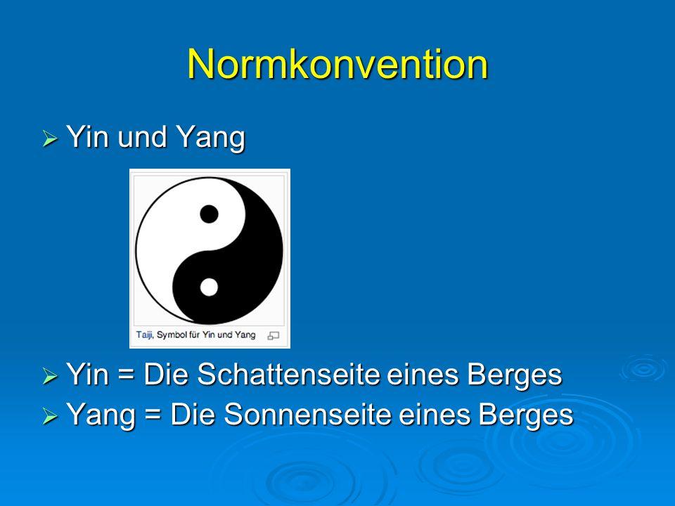 Normkonvention Yin und Yang Yin = Die Schattenseite eines Berges