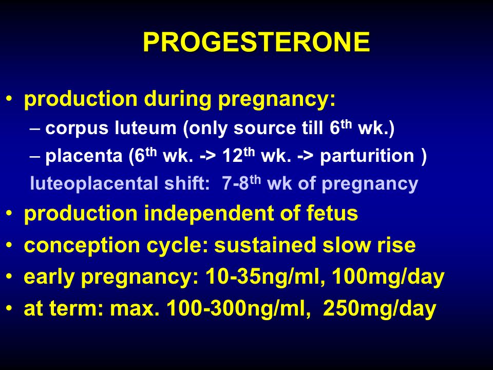 PROGESTERONE production during pregnancy:
