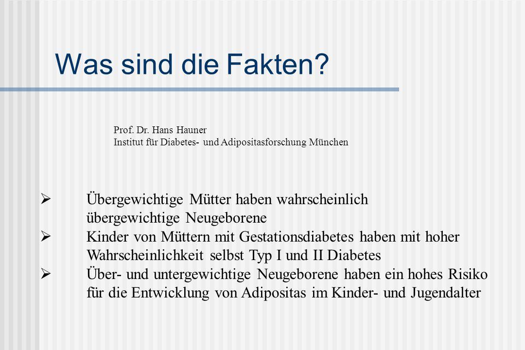 Was sind die Fakten Prof. Dr. Hans Hauner. Institut für Diabetes- und Adipositasforschung München.