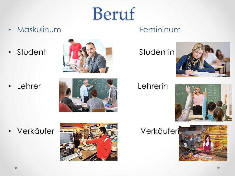 Beruf Maskulinum Femininum Student Studentin Lehrer Lehrerin