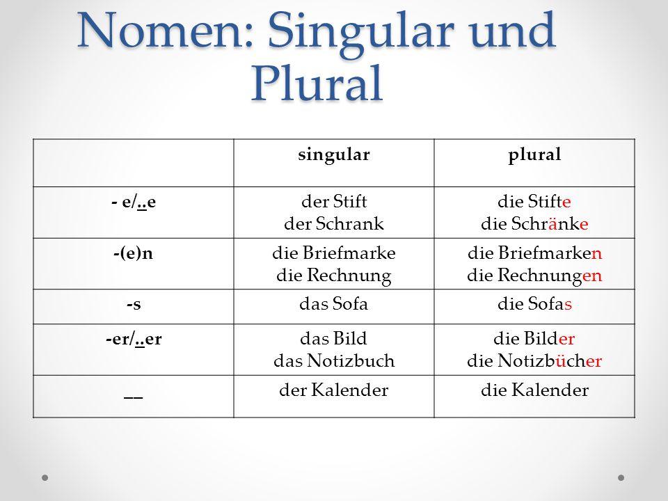 Nomen: Singular und Plural