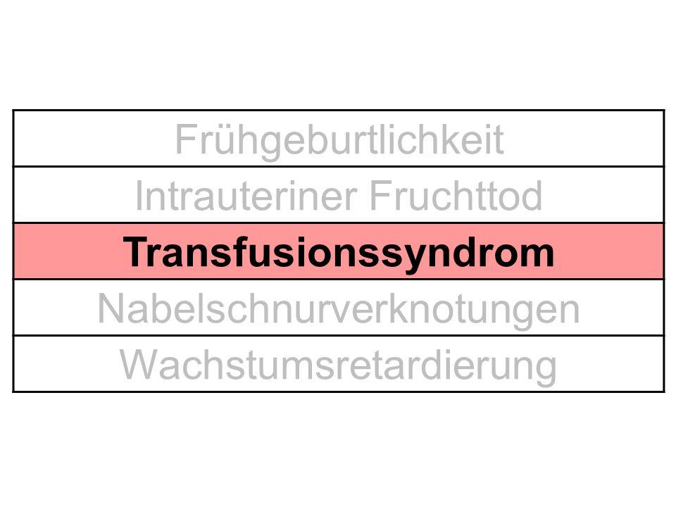Intrauteriner Fruchttod Transfusionssyndrom Nabelschnurverknotungen
