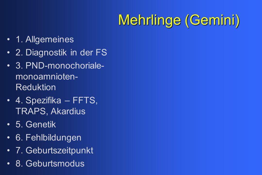 Mehrlinge (Gemini) 1. Allgemeines 2. Diagnostik in der FS