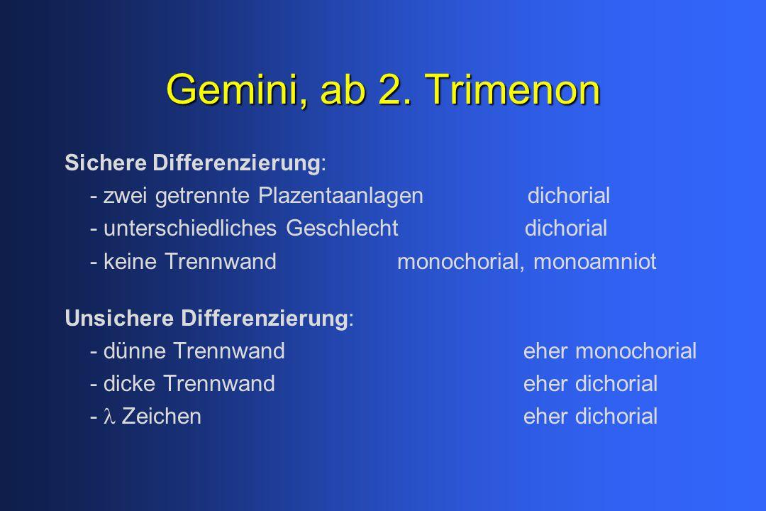 Gemini, ab 2. Trimenon Sichere Differenzierung: