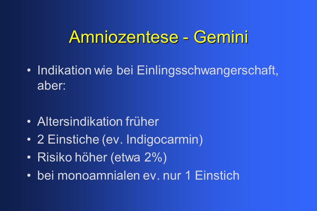 Amniozentese - Gemini Indikation wie bei Einlingsschwangerschaft, aber: Altersindikation früher. 2 Einstiche (ev. Indigocarmin)