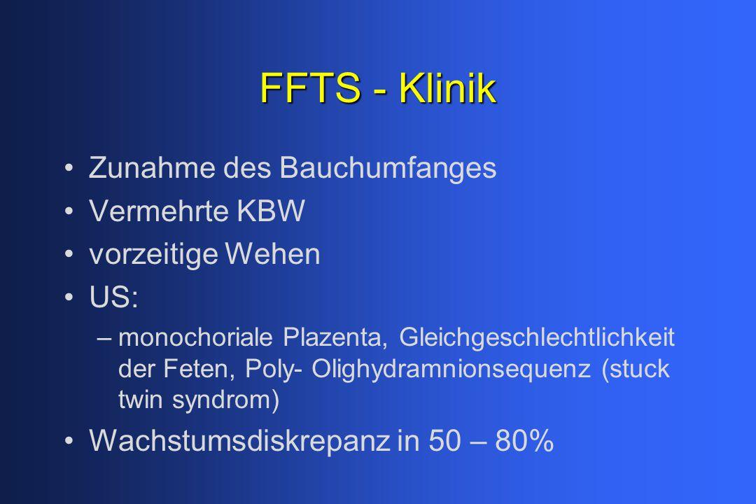 FFTS - Klinik Zunahme des Bauchumfanges Vermehrte KBW vorzeitige Wehen