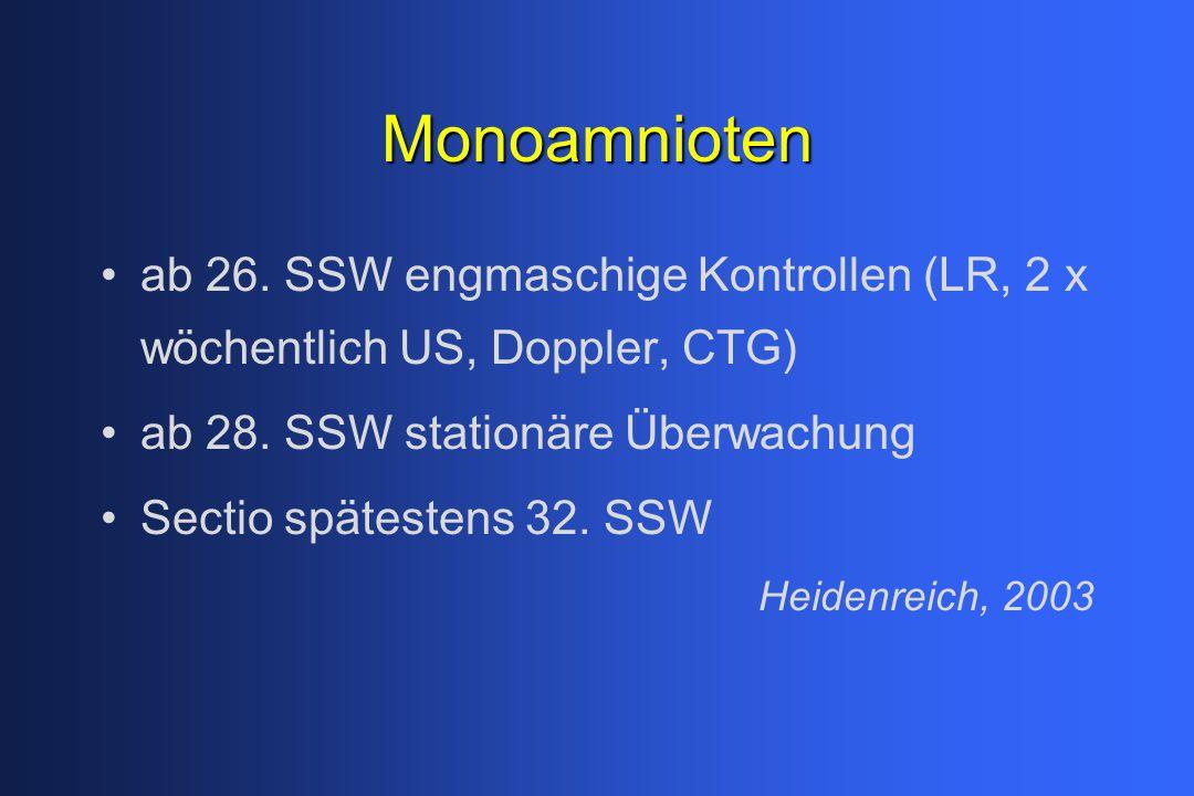 Monoamnioten ab 26. SSW engmaschige Kontrollen (LR, 2 x wöchentlich US, Doppler, CTG) ab 28. SSW stationäre Überwachung.