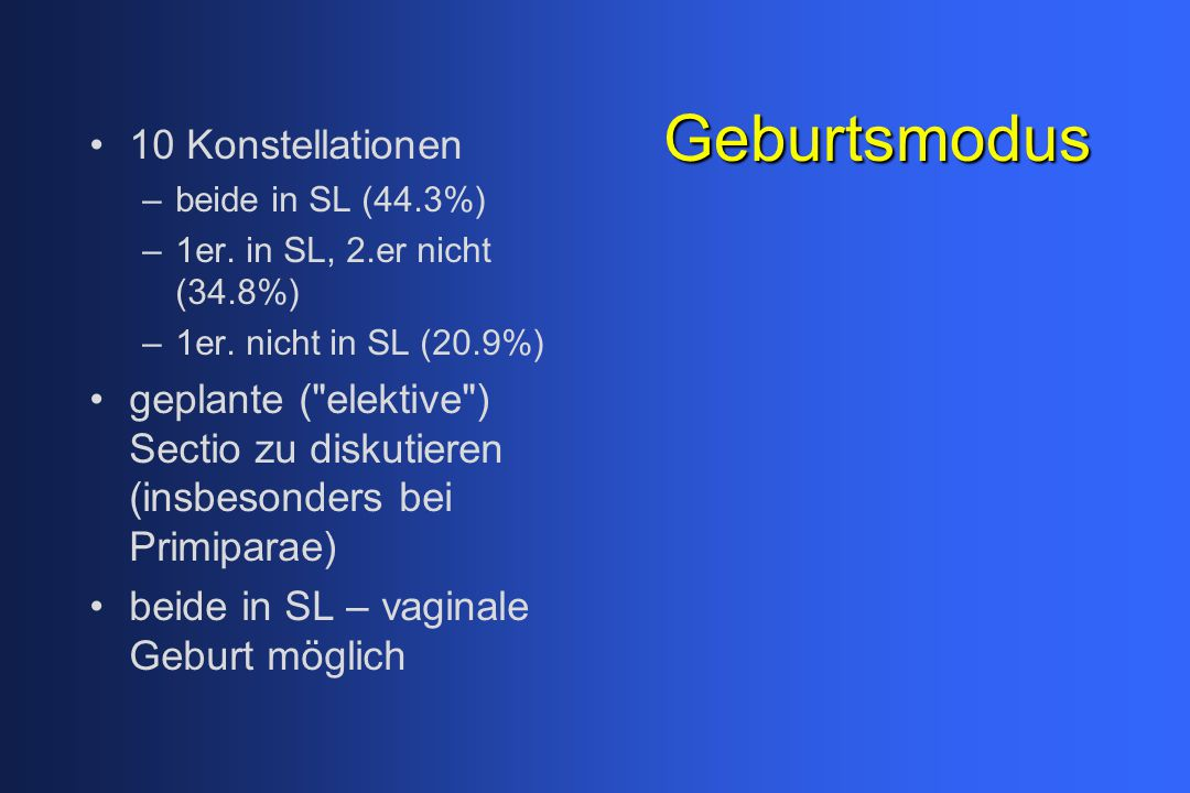 Geburtsmodus 10 Konstellationen