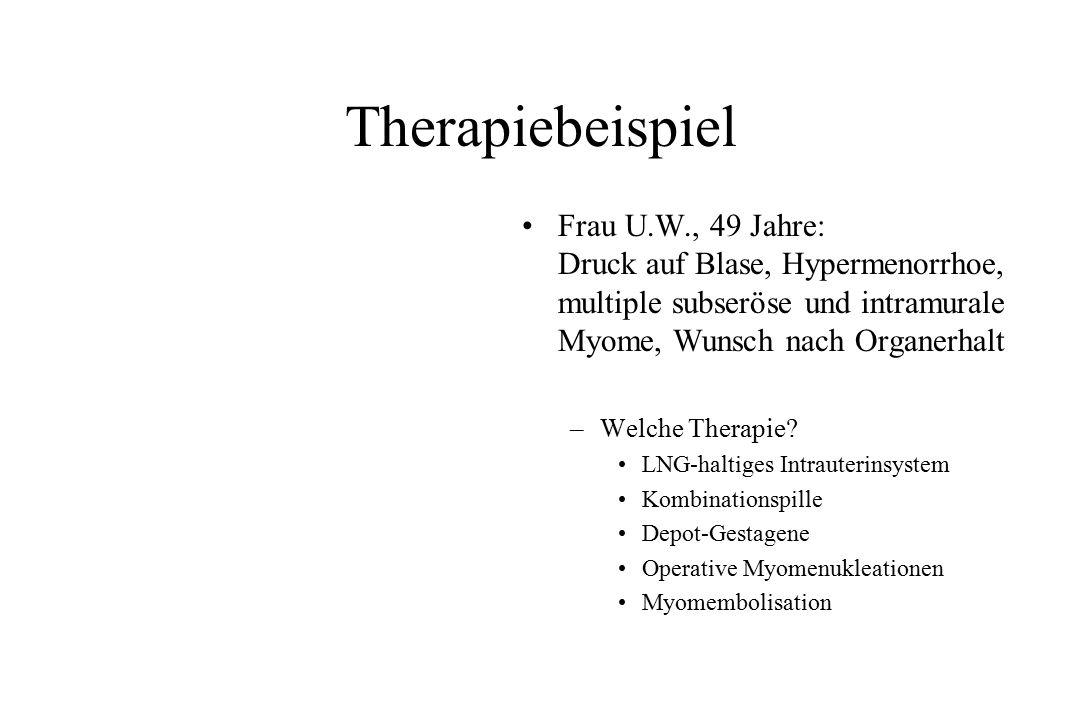 Therapiebeispiel Frau U.W., 49 Jahre: Druck auf Blase, Hypermenorrhoe, multiple subseröse und intramurale Myome, Wunsch nach Organerhalt.