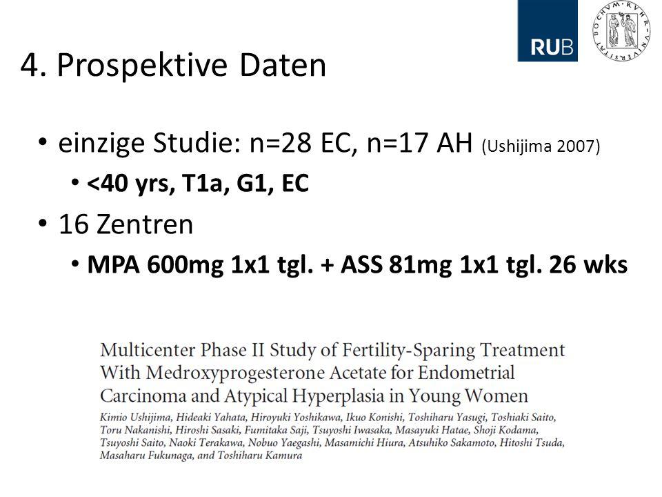 4. Prospektive Daten einzige Studie: n=28 EC, n=17 AH (Ushijima 2007)