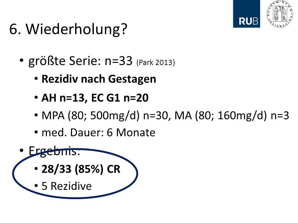 6. Wiederholung größte Serie: n=33 (Park 2013) Ergebnis: