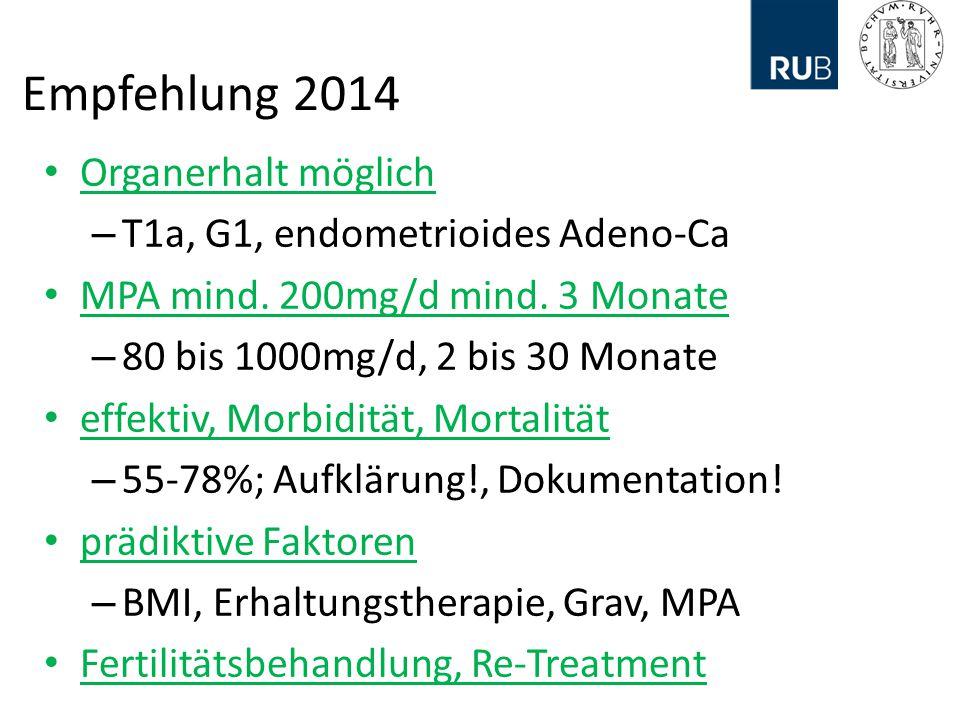 Empfehlung 2014 Organerhalt möglich T1a, G1, endometrioides Adeno-Ca