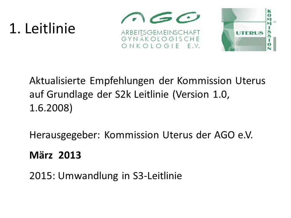 1. Leitlinie Aktualisierte Empfehlungen der Kommission Uterus auf Grundlage der S2k Leitlinie (Version 1.0, 1.6.2008)