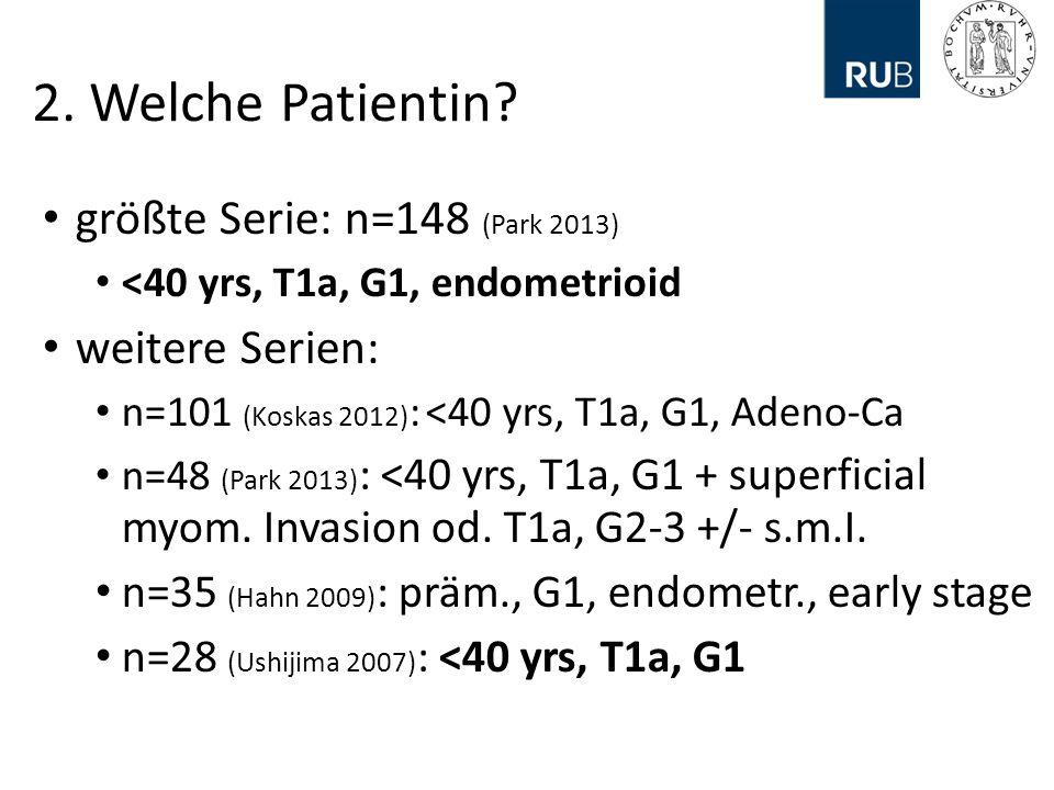 2. Welche Patientin größte Serie: n=148 (Park 2013) weitere Serien: