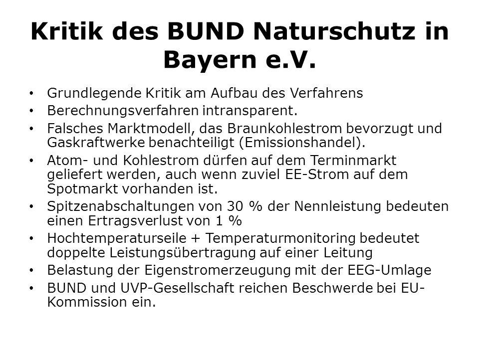 Kritik des BUND Naturschutz in Bayern e.V.