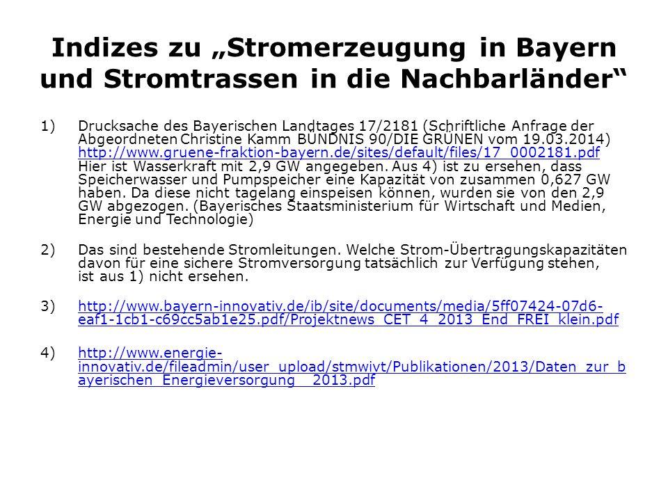 """Indizes zu """"Stromerzeugung in Bayern und Stromtrassen in die Nachbarländer"""