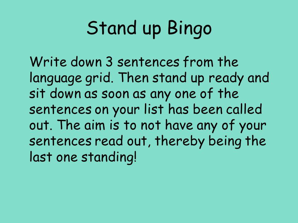 Stand up Bingo