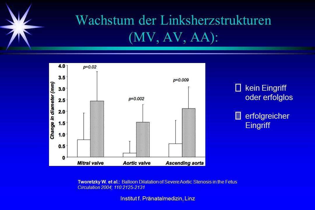 Wachstum der Linksherzstrukturen (MV, AV, AA):
