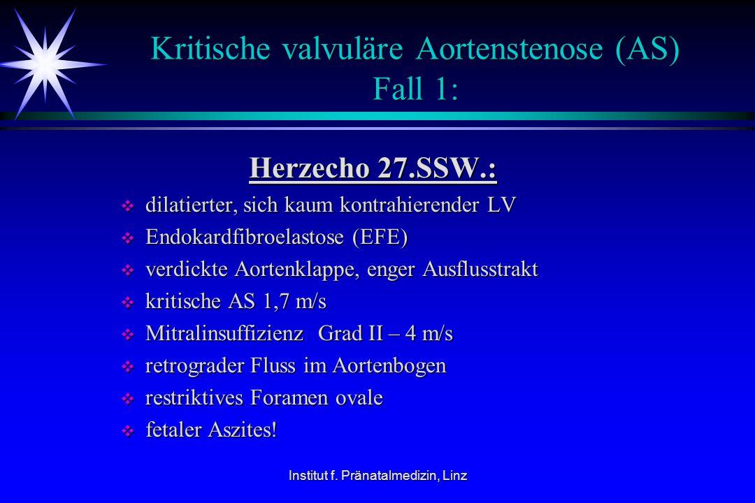Kritische valvuläre Aortenstenose (AS) Fall 1: