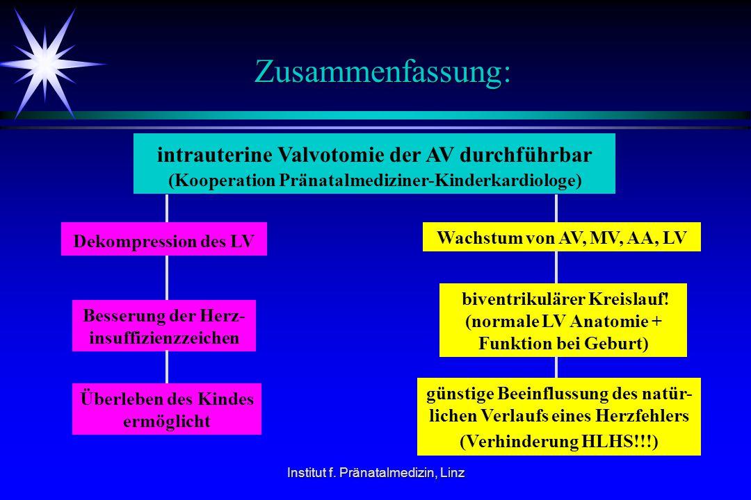 Zusammenfassung: intrauterine Valvotomie der AV durchführbar (Kooperation Pränatalmediziner-Kinderkardiologe)