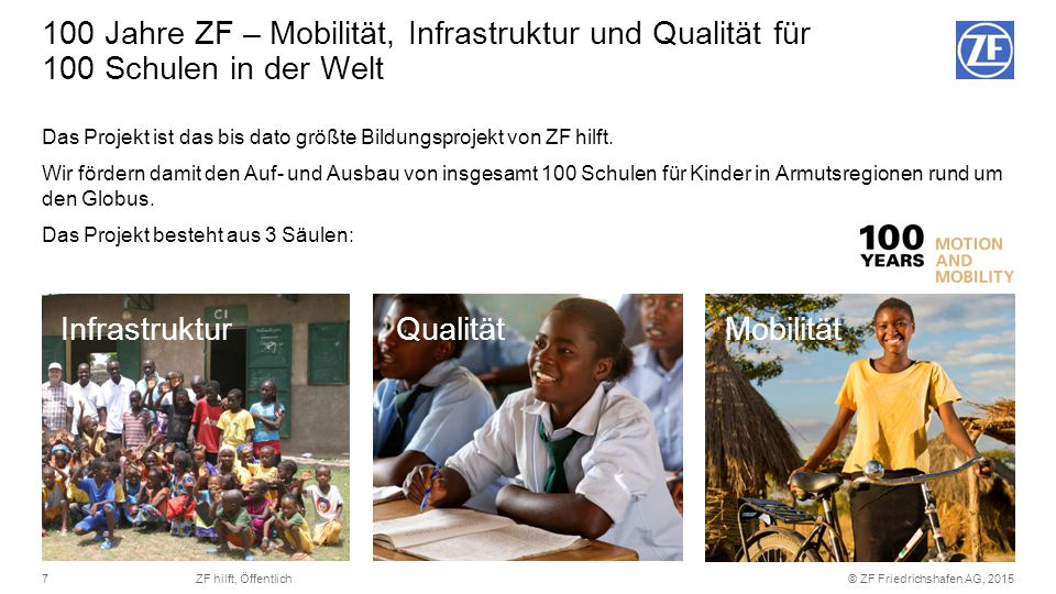 100 Jahre ZF – Mobilität, Infrastruktur und Qualität für 100 Schulen in der Welt