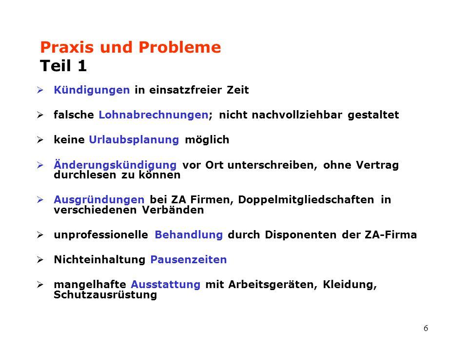 Praxis und Probleme Teil 1