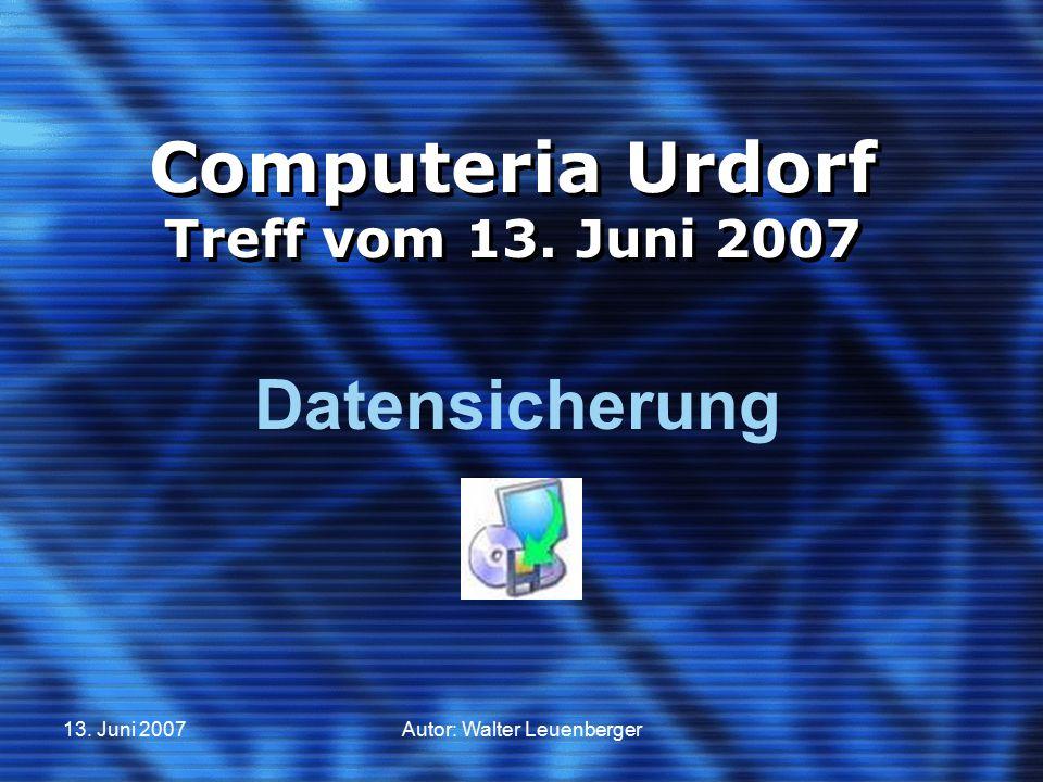 Computeria Urdorf Treff vom 13. Juni 2007