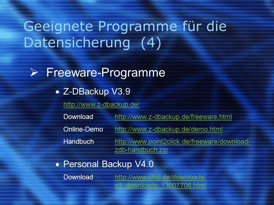 Geeignete Programme für die Datensicherung (4)