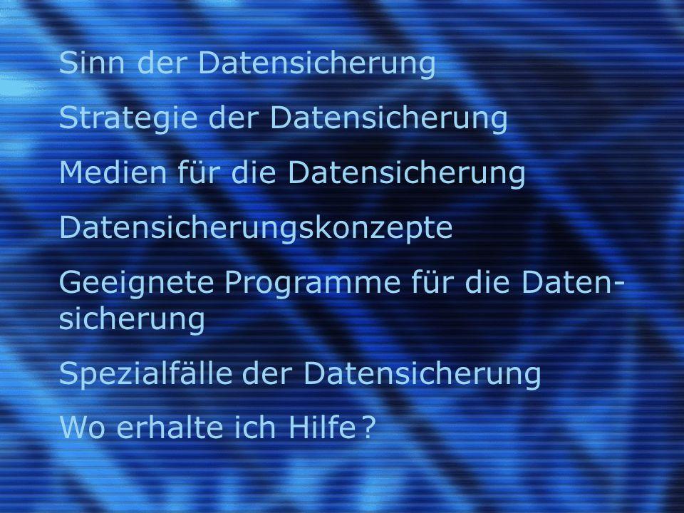 Sinn der Datensicherung