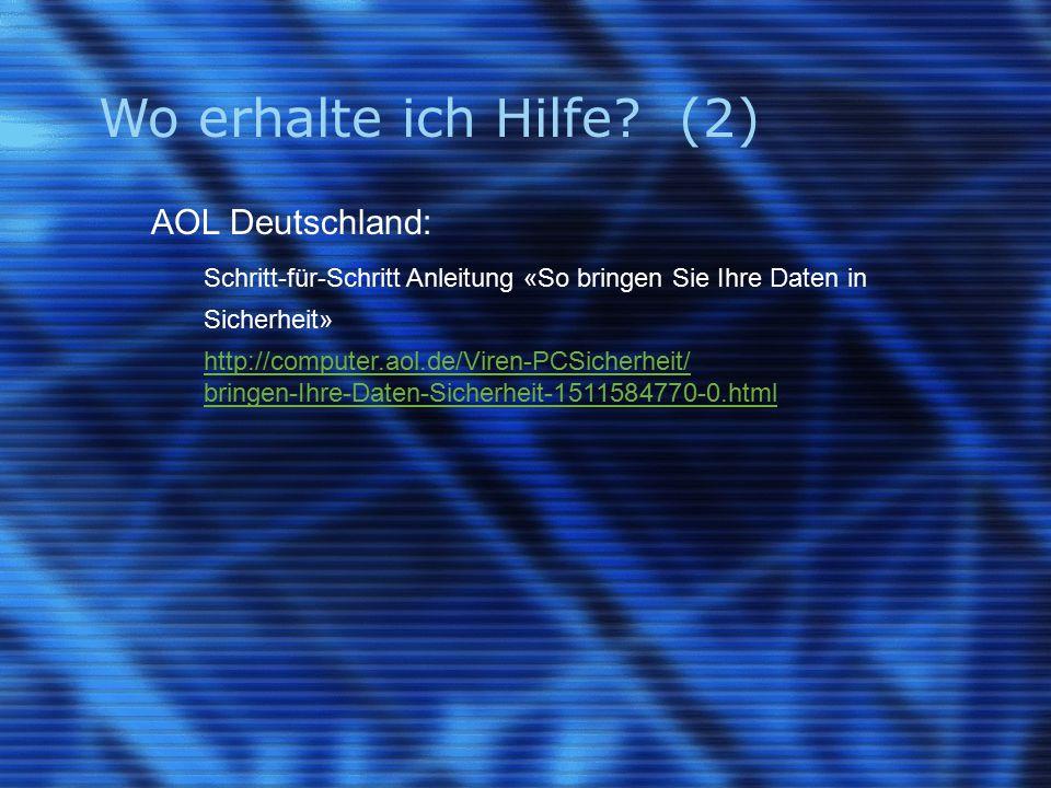 Wo erhalte ich Hilfe (2) AOL Deutschland: