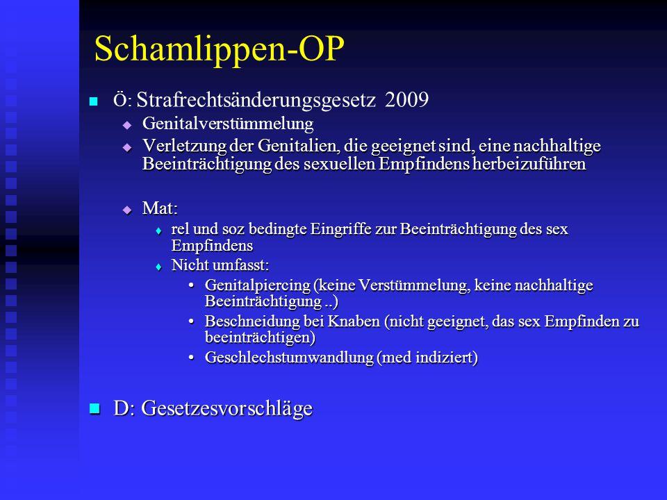 Schamlippen-OP D: Gesetzesvorschläge