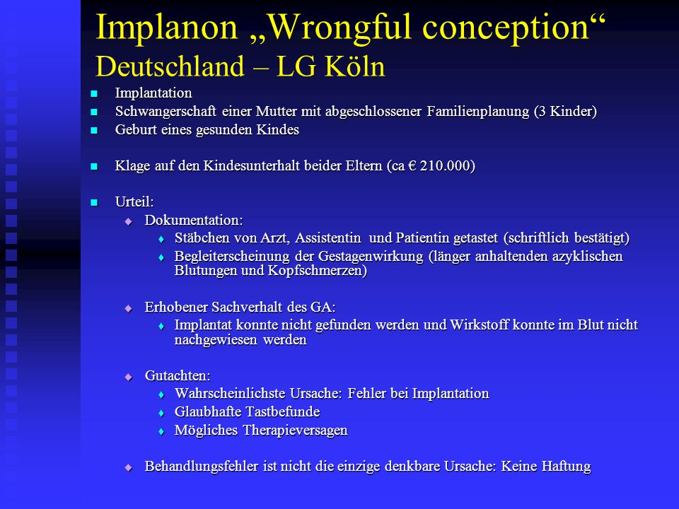 "Implanon ""Wrongful conception Deutschland – LG Köln"