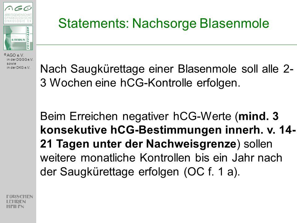 Statements: Nachsorge Blasenmole