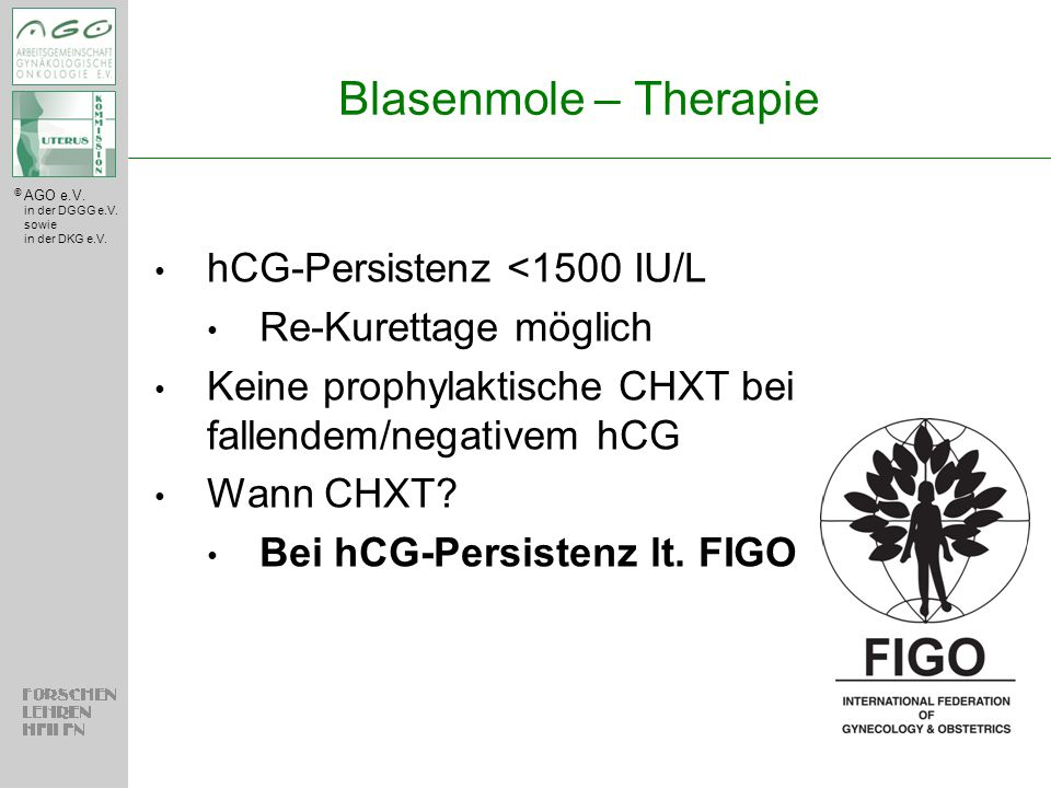 Blasenmole – Therapie hCG-Persistenz <1500 IU/L