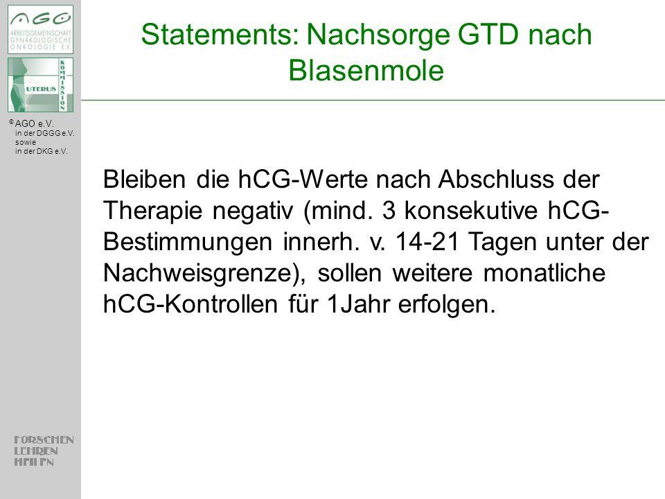 Statements: Nachsorge GTD nach Blasenmole