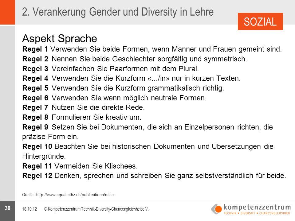 2. Verankerung Gender und Diversity in Lehre