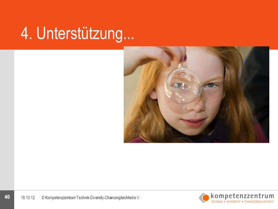 4. Unterstützung... 18.10.12 © Kompetenzzentrum Technik-Diversity-Chancengleichheit e.V.