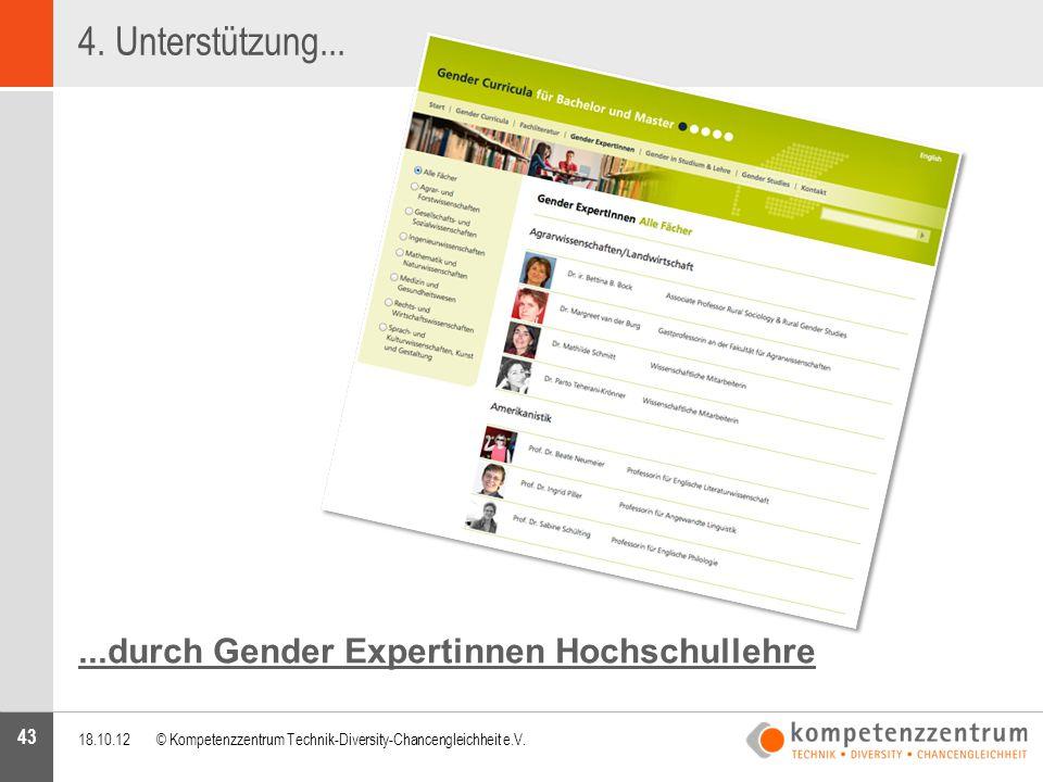 4. Unterstützung... ...durch Gender Expertinnen Hochschullehre 43 43