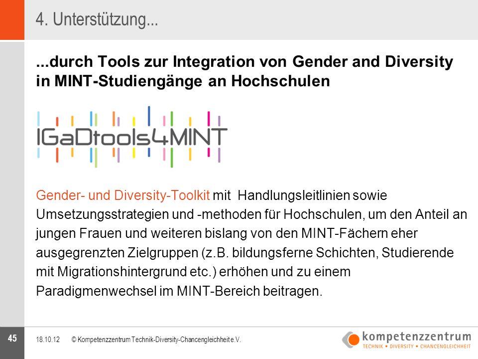 4. Unterstützung... ...durch Tools zur Integration von Gender and Diversity in MINT-Studiengänge an Hochschulen.