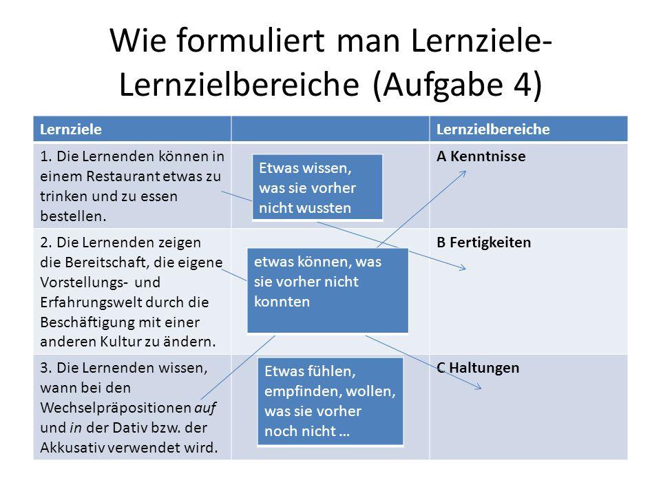 Wie formuliert man Lernziele- Lernzielbereiche (Aufgabe 4)