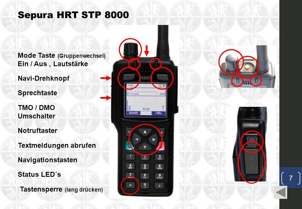 Sepura HRT STP 8000 Mode Taste (Gruppenwechsel) Ein / Aus , Lautstärke