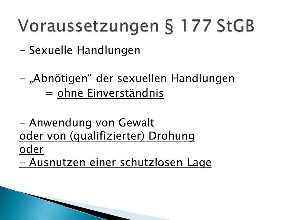 Voraussetzungen § 177 StGB