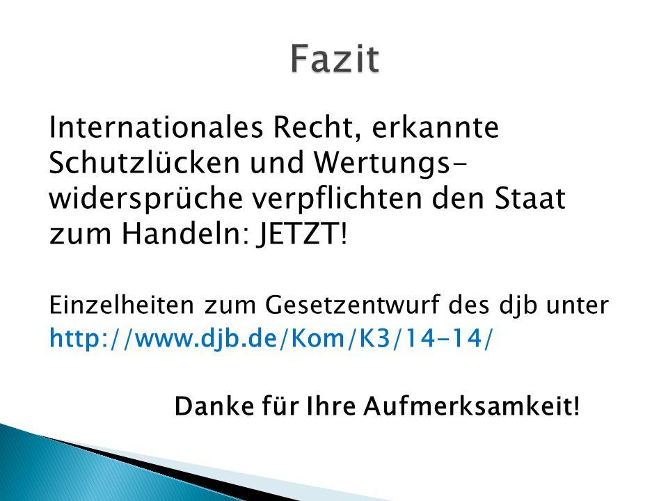 Fazit Internationales Recht, erkannte Schutzlücken und Wertungs- widersprüche verpflichten den Staat zum Handeln: JETZT!