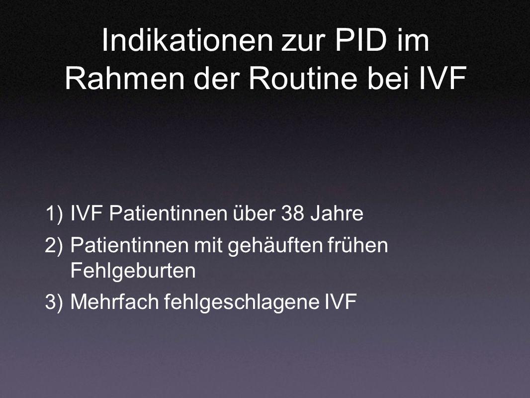 Indikationen zur PID im Rahmen der Routine bei IVF