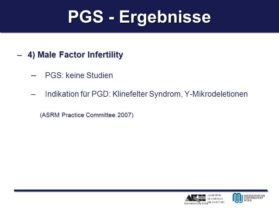 PGS - Ergebnisse PGS: keine Studien (ASRM Practice Committee 2007)