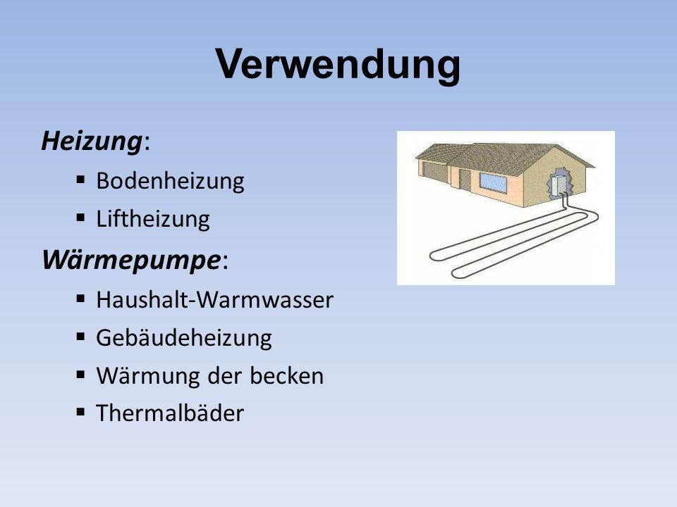 Verwendung Heizung: Wärmepumpe: Bodenheizung Liftheizung