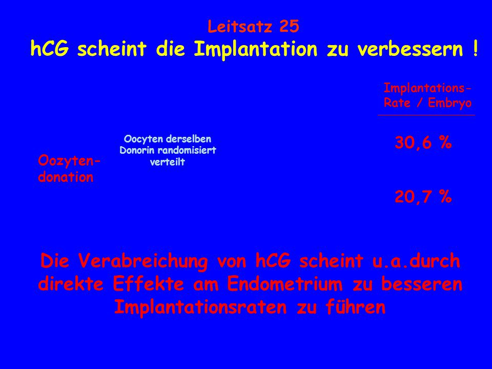 hCG scheint die Implantation zu verbessern !