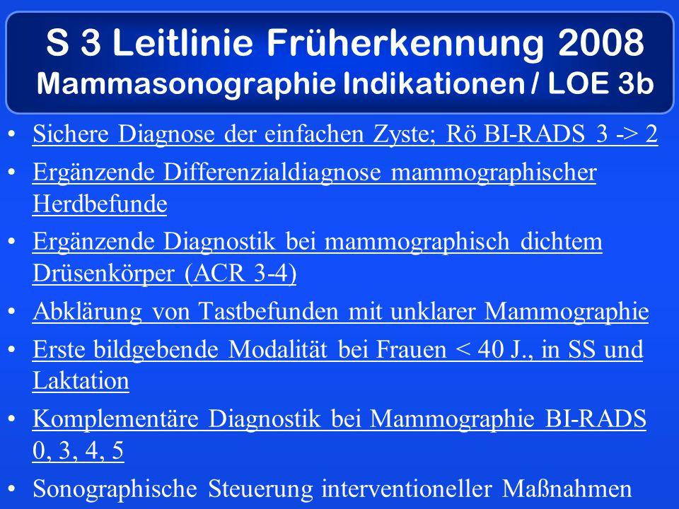 S 3 Leitlinie Früherkennung 2008 Mammasonographie Indikationen / LOE 3b