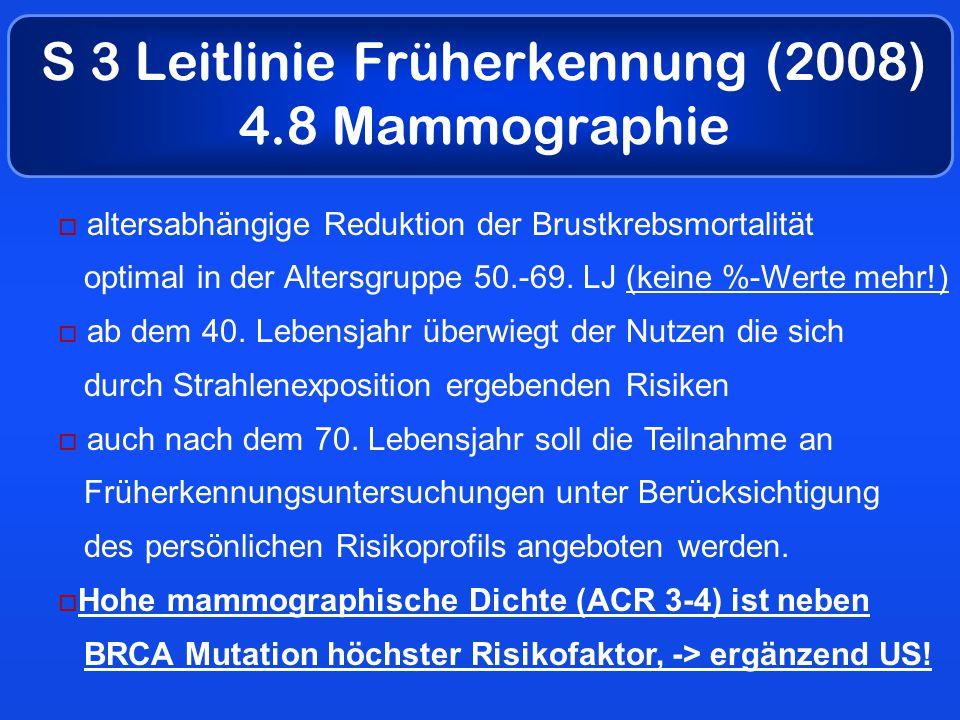 S 3 Leitlinie Früherkennung (2008) 4.8 Mammographie