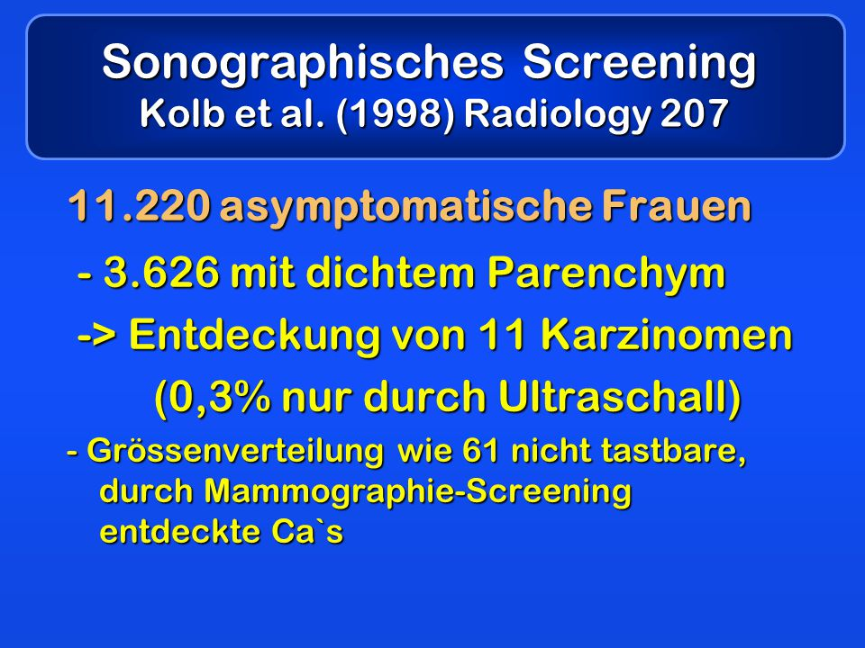 Sonographisches Screening Kolb et al. (1998) Radiology 207
